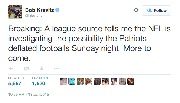 @bkravtiz breaks #deflategate on Twitter